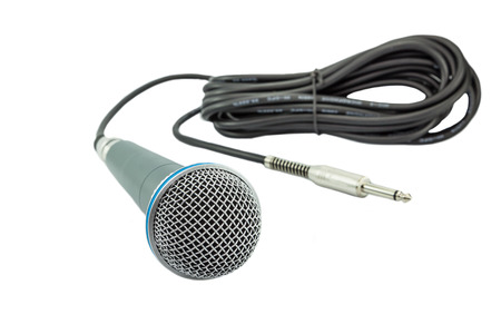 wire pin: microphone  and a jack  on white background