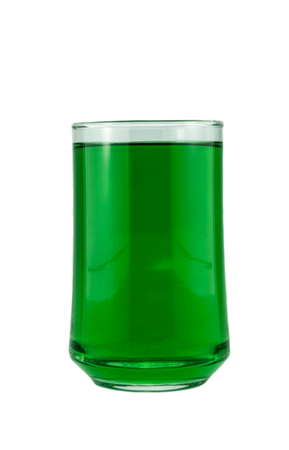 chlorophyl: chlorophyll  in glass  isolated on white background Stock Photo