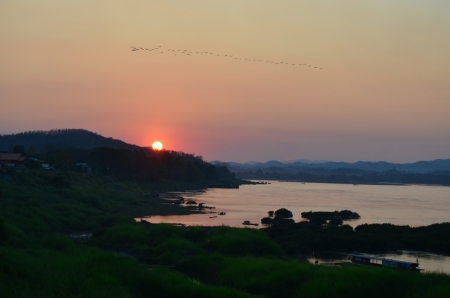 Sunsets  at Mekong River Chiangkhan, Loei photo