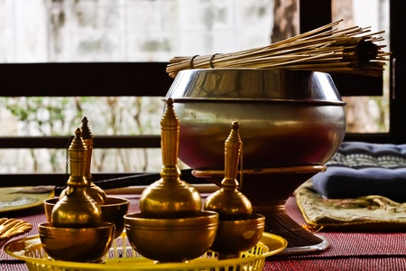 The blessing set for the monks to bless to the Buddhists who comes to the temples to do merit. - the closer look.