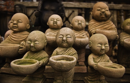 god figure: The stone craft of monk dolls are the unique and valuable decoration probs for the asian lovers.