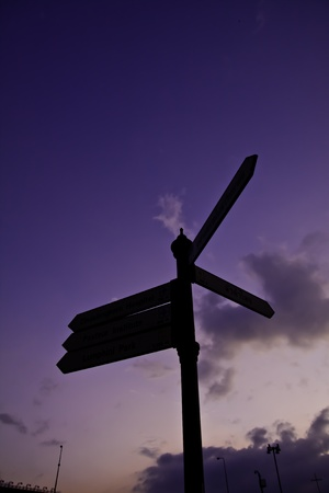 Signage upon the sky represents the decision making among the choices. photo