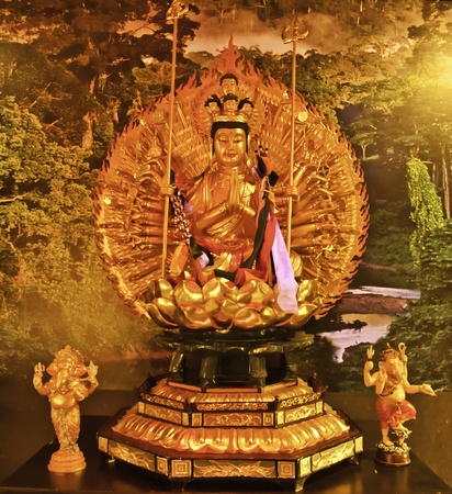 Guanyin is the bodhisattva associated with compassion as venerated by East Asian Buddhists, usually as a female. The name Guanyin is short for Guanshiyin which means  photo