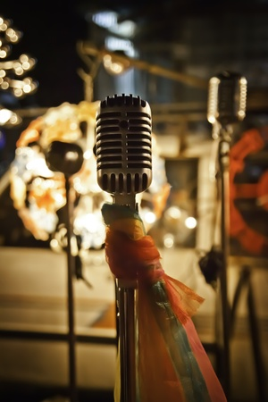 The microphone for stage performance of music and speaking. Stock Photo - 11770259