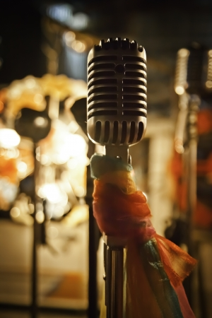 The microphone for stage performance of music and speaking. photo