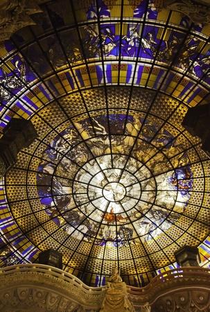 samutprakarn: The stained glass ceiling at the Erawan Museum of Samutprakarn Thailand.