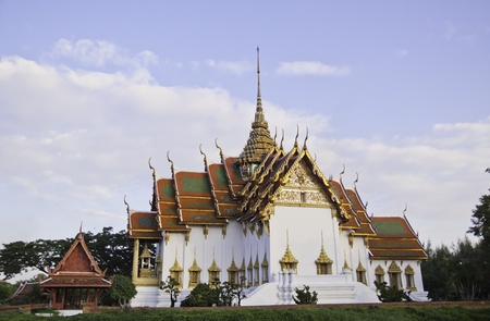 The beautiful white temple at the Ancient City of Thailand.