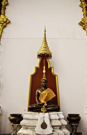 Beautiful black Buddha statue at Dhammamongkol temple of Thailand by Luang-por Viriyang.