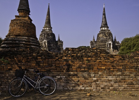 The ruin of holy traditional temple of Ayudhaya Thailand. photo
