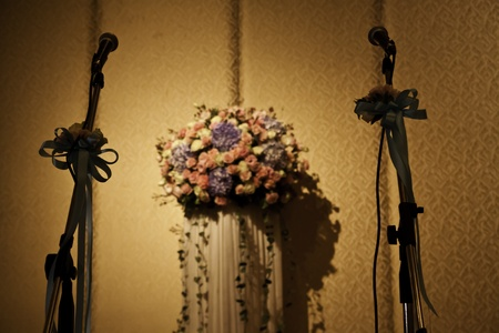 The couple microphones at the wedding ceremony represent the commitment of the lovers to take care of each other. photo