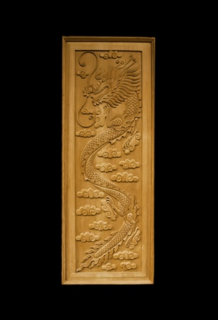 The isolated dragon door in the black background photo