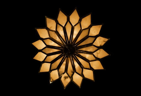 The isolated ceiling flower lamp in the black background. photo