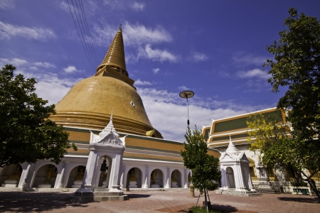 The exotic biddhism destination - Phra Pathom Chedi of Nakorn Pathom Thailand. photo