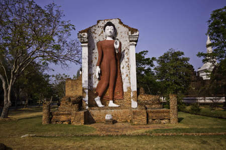 The beautiful white stone Buddha statue at the Ancient City of Thailand. Stock Photo - 12304255