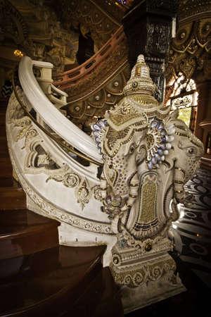 The exotic stairway at the Erawan Museum of Samutprakarn Thailand.