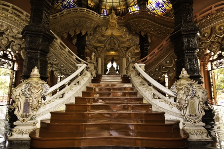 The exotic stairway at the Erawan Museum of Samutprakarn Thailand.