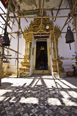 Beautiful traditional Thai temple architecture in the renovation process at Kor Kred of Thailand. photo