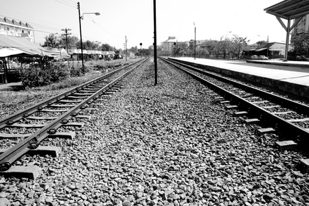 The train station with the half shadow at the center line of the landsacpe screen