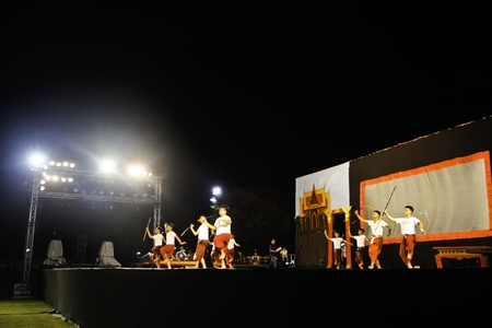 BANGKOK - APRIL 6  The performers on the stage perform with their best efforts tributed to the royal funeral of Princess Bejaratana Rajasuda Sirisobhabannavadi of Thailand on April 10,2012 at Sanam Luang Bangkok  Stock Photo - 13095614