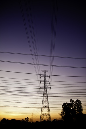 outdoor electricity: The high electricity pole steel structure in the outdoor labdscape  Stock Photo