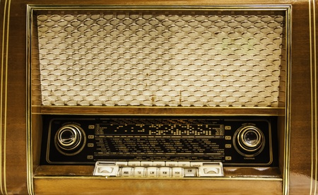 The retro style radio's analog console. photo