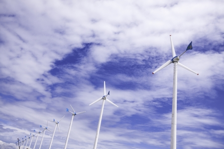 The arrays of wind turbine as the source of alternative sustainable energy. photo