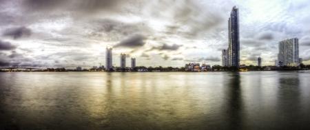 The beautiful landscape panorama scene of Chaophraya river of Bangkok Thailand