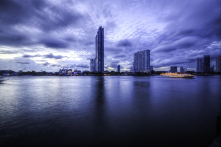The beautiful landscape panorama scene of Chaophraya river of Bangkok Thailand