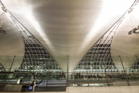 BANGKOK - OCTOBER 7 : The interior decoraton of Suvarnabhumi International Airport on October 7, 2012 in Bangkok Thailand. Suvarnabhumi International Airport is the national airport of Thailand located on the Bangkok the capital of Thailand. Stock Photo - 15855399