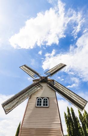 The rural landscape scene of beautiful vintyard windmill