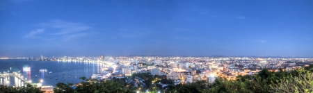 The panoramic view of the seaside coast of Pattaya Thailand. Stock Photo