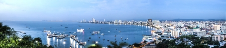 The panoramic view of the seaside coast of Pattaya Thailand.
