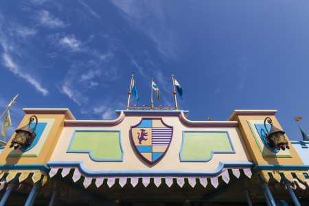 incorporation: HONG KONG - JANUARY 7 : Hong Kong Disneylands exotic scenery on 7 January 2013 in Hong Kong. It is the first theme park located inside the Hong Kong Disneyland Resort with Chinese culture, customs, and traditions incorporation in designing and building t Editorial