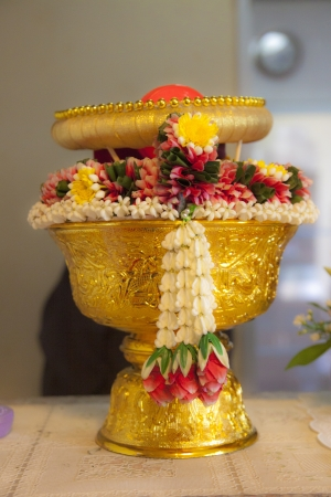 malai: Traditional Thai Wedding ceremony atmoshphere decoration and artifacts.