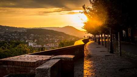 The beautiful landscape scenery of mountain walkway of Budapest Hungary. Stock Photo