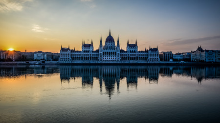 The beautiful scene of the Hungarian Parliament Building at the River Danube. Stock Photo