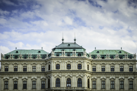 VIENNA - MAY 18 : Belvedere Palace welcomes the visitors and tourists on May 18, 2016 in Vienna Austria. The Belvedere is an historic building complex in Vienna, Austria, consisting of two Baroque palaces (the Upper and Lower Belvedere), the Orangery, and