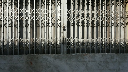 The Steel door of Shophouse. Stock Photo