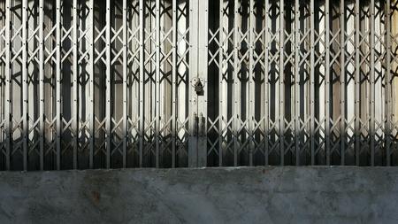 The Steel door of Shophouse. Stock Photo