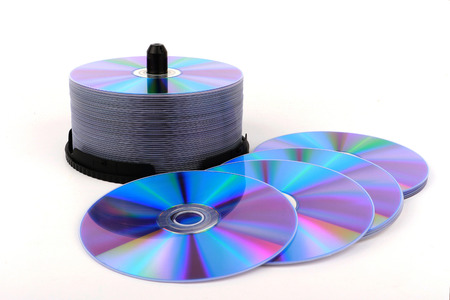 optical disk: DVD, CD disc on white background, close-up, isolated Stock Photo