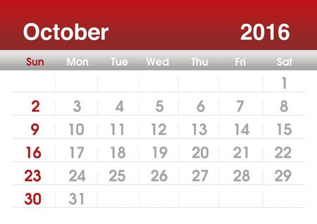 october: Calendar 2016. Planning calendar for October 2016. Vector template.