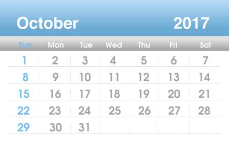 planning calendar: Calendar 2017. Planning calendar for October 2017. Vector template. Stock Photo