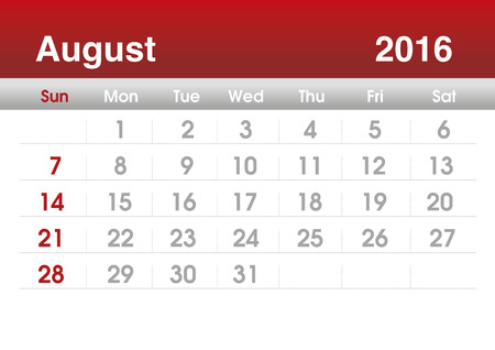 planning calendar: Calendar 2016. Planning calendar for August 2016. Vector template. Stock Photo