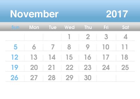planning calendar: Calendar 2017. Planning calendar for November 2017. Vector template.