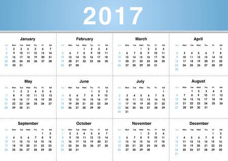 Simple 2017 Calendar  2017 calendar design  2017 calendar vertical - week starts with sunday Banco de Imagens