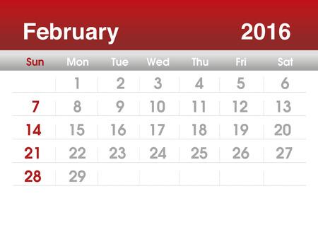 planning calendar: Calendar 2016. Planning calendar for February 2016. Vector template.