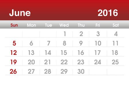 planning calendar: Calendar 2016. Planning calendar for June 2016. Vector template.