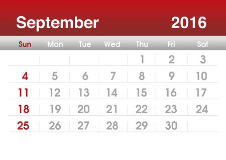 planning calendar: Calendar 2016. Planning calendar for September 2016. Vector template. Stock Photo