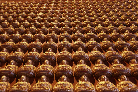 lengnoeiyi: Groups of Buddha statue, stucco on chinese temple wall in Dragon Temple Kammalawat Wat Lengnoeiyi in Nonthaburi, Thailand