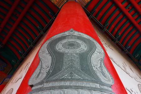 lengnoeiyi: Boundary stone on pole in Chinese temple, Dragon Temple Kammalawat Wat Lengnoeiyi in Nonthaburi, Thailand